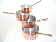 Set of 4 genuine French copper pans