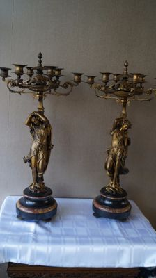 Two metal candlesticks, 20th century