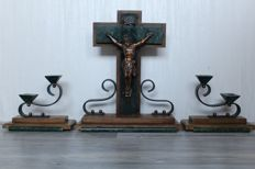 """Art Deco set of """"Jesus Christ on the cross"""" and 2 candlesticks - Germany - circa 1930"""
