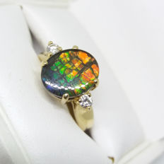 An Original Canadian natural AA Grade Ammolite and Diamonds 14K ring in Korite display box with certificate