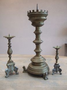 Large 19th century Flemish candlestick and 2 baroque candlesticks from the last century