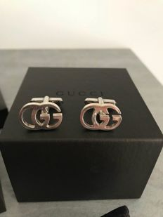 Gucci - men's cufflinks in 925 sterling silver, signed Gucci - 2 cm