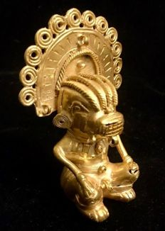 "A South American, Tumbaga Gold, Colombia,  Tairona 97 x 66 x 36 mm , 90,44 grams , an Indian native ceremonial Grand Shaman ""jaguar man"""