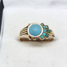 Unusual design Vintage natural Duck Egg Blue Turquoise, square Turquoise and Jadeite 14K coctail ring