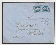 France 1861 - Emission Louis Napoleon III, First unofficial perforations, Letter 20c, type II in pair to Vervins.
