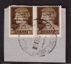 "Italy, 1943 - ""Base Atlantica"" - 10 Cents Double Overprint, One of Which is Upsidedown - Pair on Fragment - Sassone No. 6c"