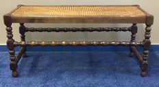 Oak wood bench with rattan seat, about 1900