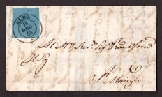 Sardinia,1854 -- 20 cent, blue, on a large part of a letter from Alba -- Sassone  No. 5