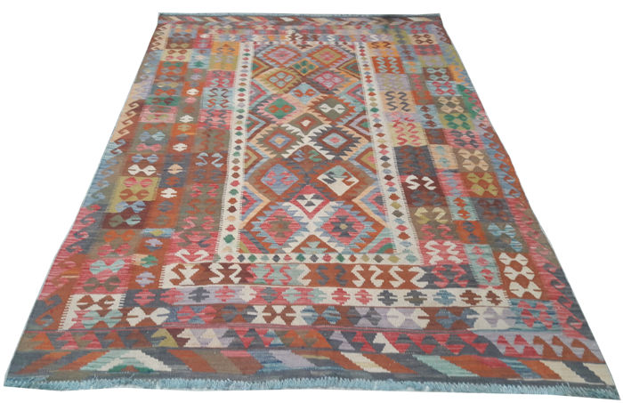 Double Face New Afghan Oriental Hand Woven Veg Dyes Kelim Large Area Rug 303 cm x 189 cm