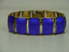 Rare David Andersen - Norwegian, bracelet with blue guilloche enamel. 925 silver