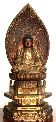 Very old detailed gilded wooden Buddha statue - Japan -  eind 19e eeuw