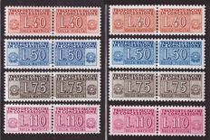 Italy, Republic, 1953/1955 -- stamps for concession parcels with winged wheel and stars watermark -- Sassone  No.  1/6, 9 and 12