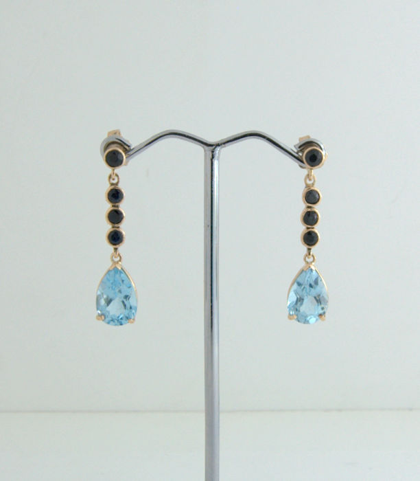 14 kt Earrings- with Black Sapphire+Topaz* ***no reserve price***