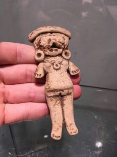 Small standing terracotta figurine - Maya - 120 mm
