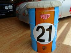 60 litre oil barrel seat with replica LeMans no. 21 Gulf Porsche Heuer theme