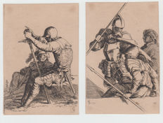 Salvator Rosa (1603 - 1677) - couple of two prints from  'Diverse figure'- 1615-1673