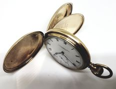 Thos Russell Son Liverpool gold plated full hunter pocket watch elgin illinois case