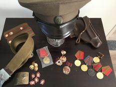 Russian officer's cap, 10 medals, epaulette, and a belt - communist period, 20th century