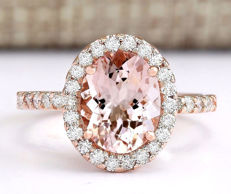 2.67 Carat Morganite And Diamond Ring In 14K Solid Rose Gold - Ring Size: 7  - no reserve price -
