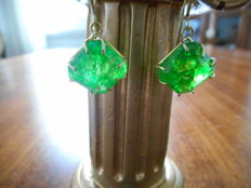 Gold earrings with natural emeralds ***no reserve price***