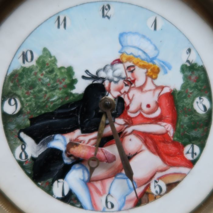 Doxa - old crystall ball clock with erotic motif - beginning 19th century - unisex - 1901-1949