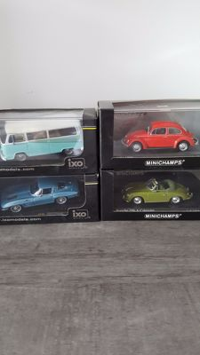 Minichamps / Ixo - Scale 1/43 - Lot of 4 models: 2 x VW, Porsche & Chevrolet Corvette