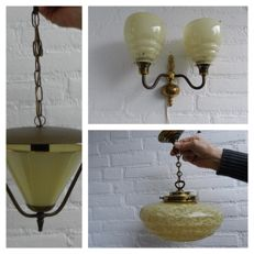 Three lamps from the 1960s - lantern - wall lamp - hanging lamp