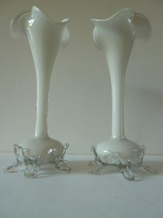 Glass Victorian Bohemian - pair of vases