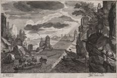 Aegidius Sadeler (1570-1629 ) - Riverscape in Bohemia after a design by Pieter Stevens ( 1567- 1624) -Ca. 1600