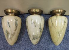 Three exclusive ceiling lamps in Art Deco style, from the 1960-1970s