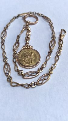 Antique rose gold coloured watch chain / chatelaine with decorated pendant, circa 1900