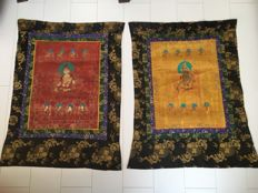 Two Thangka paintings, White Tara - Tibet/Nepal - late 20th century