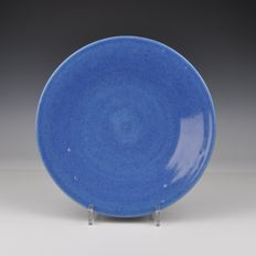 A Ceramic Platter Powder Blue Glazed - China - 19th century