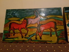 Stone picture with horses - atmosphere by Franz Marc and Der Blaue Reiter art movement - 1st half of 20th century or the 50s.