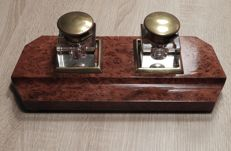 Two inkwells with glass jars.