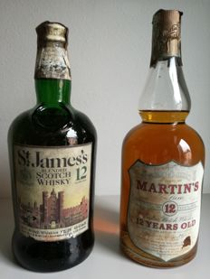 2 bottles - St James's 12 years old (1972) & Martin's de luxe  12 years old (1973)