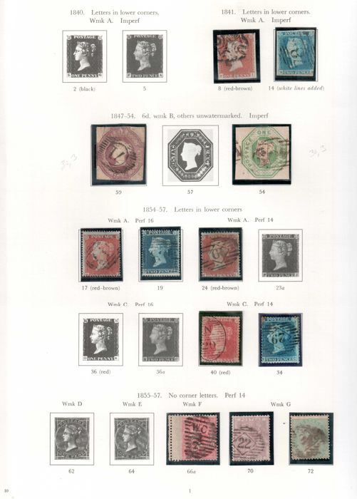 Great Britain Queen Victoria 1840/1870 - a small selection on two album pages.