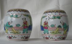 Two Chinese porcelain stock pots - China - second half of 20th century