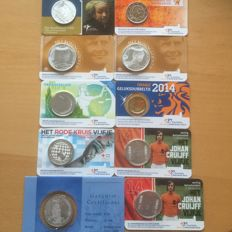 The Netherlands - Coin cards 10 cents through 10 Euro coins 2005/2017 (9 pieces), including 1 x 10 Euro coin 2005 in silver