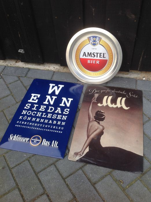 3 metal advertising signs of Sekt, Amstel and Schlösser - 2nd half of 20th century