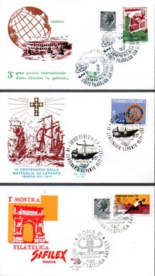 "Italy, Republic 1961/1984 - collection of 237 first day covers, ""Venezia"" (Venice) series - ""Filagrano gold"" (Gold watermark) - ""Roma"" (Rome) - ""Bucintoro"" (Bucentaur)"