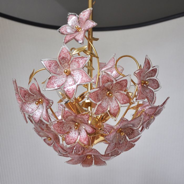 Vintage Polished Brass Chandelier With Italian Murano Glass Pink Flowers 18 Pieces