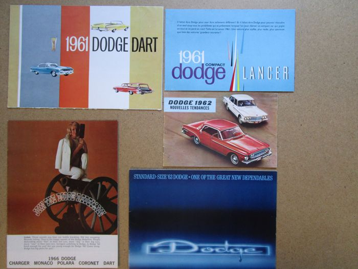 DODGE - Lot of 5 original brochures for Dart, Coronet, Polara, launch, load, Monaco - 1961-1966