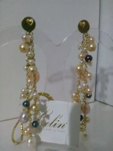 Earrings in 18 kt gold with pearls, Celin Vicenza