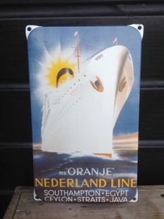 "Enamel advertising sign ms ""Oranje"" Nederland Line - 2nd half 20th century"