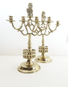 2 large bronze candlesticks 4-arms