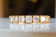 Superb wedding ring 7 diamonds of 0.10 ct each F/G and VS