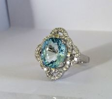 A 4.83ct Aquamarine and Diamond ring.
