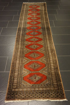Hand-knotted Persian carpet Jomut Bukhara runner 85 x 305 cm
