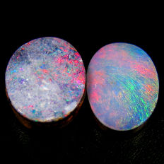Lot Of 2 Australian doublet  Opal With  Rainbow Flash  - 3.20 Ct (2)